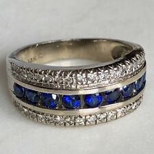 14K White Gold Royal Blue Sapphire Diamond Horizontal Wide Band Stack Ring 8.5