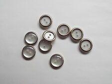 10pc 12mm Faux White Opal And Silver Shirt Wedding Knitwear Children Button 1167