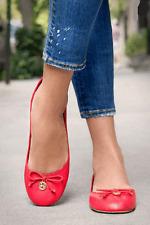 Tory Burch CHELSEA Ballerina Flat ORANGE Leather Ballet Shoe Logo Charm  9.5
