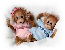 DOUBLE TROUBLE! - NEW ~Adorable Orangutan Twins 8 Inch Boy & Girl dolls