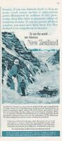 1962 New Zealand Government PRINT AD Travel Vintage Snow Ski Hermitage MT Cook