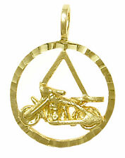 14K Gold Alcoholics Anonymous AA Symbol w/ a Harley Motorcycle Pendant jewelry