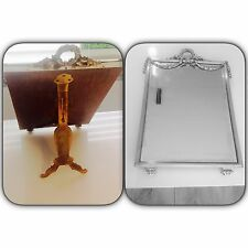Antique French Sterling Silver Mirror Beveled Glass Dresser Vanity Table