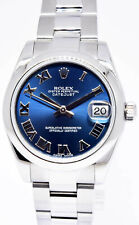 Rolex Datejust Steel Blue Roman Dial Ladies Midsize 31mm Automatic Watch 178240