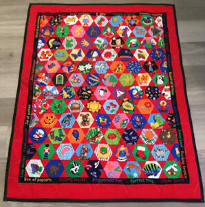 Printed Crib Quilt, Vivid Colors, Flowers, Animals, Dogs, Sheep, Fish, Angel