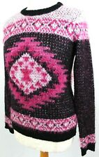 Womens Jumper UK Small New Look Black Pink Eyelash Winter Soft Cosy Warm Argyle