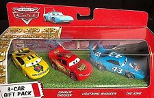 DISNEY PIXAR CARS MODELLINI 3 CAR GIFT PACK CHECKER KING MCQUEEN