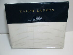 """NEW Ralph Lauren OLIVIA Mirada Queen Flat Sheet 96""""x108"""" Cream NIP"""