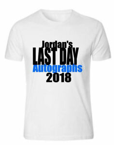 Customised school leavers t-shirt, (your name's) last day autographs cute design