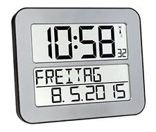 Time Line Max Funkwanduhr automatische LCD Funk Wand Uhr gro�Ÿes Display silber