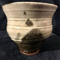 Antique Japanese Tea Bowl / Ceremony Chawan - Edo Glazed Raku Pottery Signed