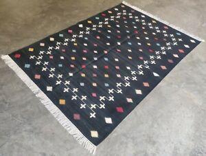Cotton Rug 4'x6' Handwoven Black & White Star Pattern Reversible Dhurrie Area