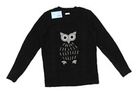Cotton Traders Womens Size 10-12 Graphic Black Midweight Owl Jumper (Regular)