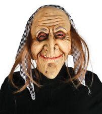 Maschera vecchia befana strega con fazzoletto e capelli