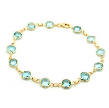 14K Yellow Gold Fancy Cut Blue Topaz Gemstone Bracelet 7.25 Inches