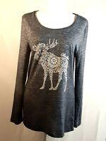 Creative Apparel Long Sleeve Blue Alaska Moose Print Blouse L