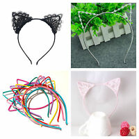 Cat ear alice band headband metal rhinestone silver lace hairband costume fancy