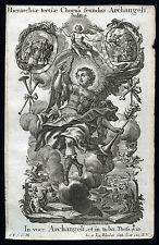 santino incisione 1700  CORI DEGLI ANGELI,GLI ARCANGELI  klauber