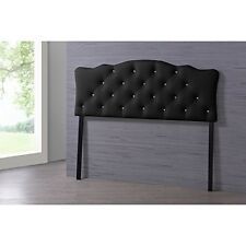 Rita Faux Leather Upholstered Button-Tufted Scalloped Headboard, Queen, Black