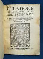 Della Chiesa Relatione dello stato presente del Piemonte Prima ed 1635 Pergamena