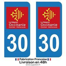 2 STICKERS AUTOCOLLANT PLAQUE IMMATRICULATION DEPARTEMENT 30 REGION OCCITANIE