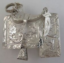 Phenomenal 93g Sterling Silver Relief Saddle Ornate Western Charro Belt Buckle