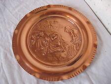 """Assiette déco en cuivre de 24,5 cm de diamètre 295g """" Travail de la ferme """""""
