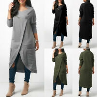 UK 8-24 Women V Neck Long Sleeve Sweatshirt Dress Casual Loose Asymmetric Tops