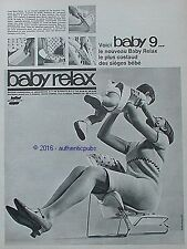 PUBLICITE BABY RELAX BABY 9 SIEGE BEBE RELAX DE 1966 FRENCH AD PRINT PUB VINTAGE