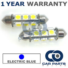 2X BLUE CANBUS NUMBER PLATE INTERIOR 8 SUPER BRIGHT SMD LED BULBS 42MM 19BX2