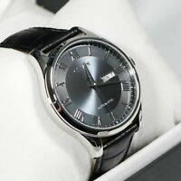 Citizen Grey Dial Automatic Men's Black Leather Band Watch NH8360-12H