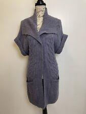 Caslon Cable Knit Purple Cardigan Sweater Short Sleeve XS