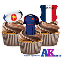 France Rugby Shirt Ball & Flag Mix 12 Edible Cup Cake Wafer Toppers Decorations