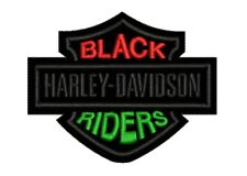 """Black Harley Davidson Riders 4""""x3"""" Sew On Patch / IRON ON TriColour"""