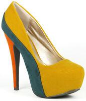 Mustard Yellow Green Orange Round Toe High Stiletto Heel Platform Pump Qupid