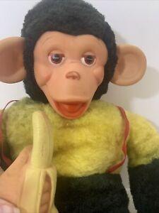 """Vintage Mint Mr. Bim Zip Zippy Monkey Chimpanzee Rubber Face Plush w/ Banana 18"""""""