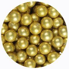 Gold 10mm Edible Sugar Pearl Balls/Dragees - 50g