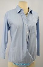 CAbi Cross Button Shirt Blue Pinstripe style 746 cotton spandex blouse top S NEW