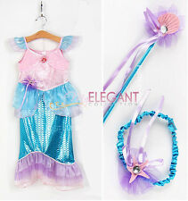 Disney Mermaid Ariel Halloween Costume Children Girls Gown Dress 3-5Y Tiara Wand