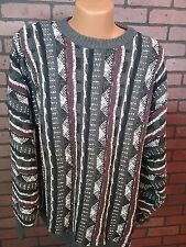 Vtg Towncraft Gray Black Striped 1980's Hipster Mens XLT Crew Neck Sweater