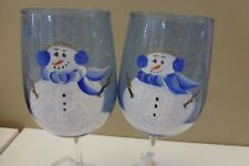 Hand Painted Winter Snowman Christmas Holiday Stemmed Wine Glasses (Set Of 2)