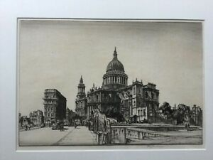 Henry George Rushbury RA signed etching St Pauls Cathedral Cannon St London1942