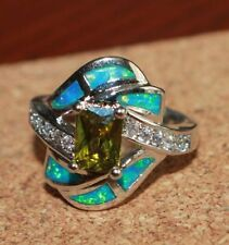 fire opal Cz topaz ring gemstone silver jewelry 6 6.5 7.5 cocktail engagement