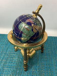 "World Globe Stone Inlay 4.5"" Desk Rotating Earth Figure Blue Abalone Brass  Tc2"