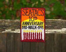 "Sea-Tac's 10th Anniversary 1983-1993 Walk AVA 4"" x 2 7/8"" Embroidered Patch WA"