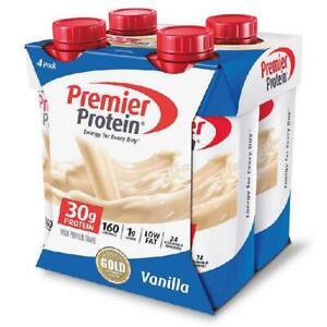 Premier High Protein Shake Vanilla 30g Protein Energy Drink Shake 4 Pack 11 Oz