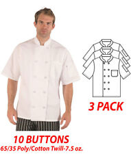HiLite Chef Coat 10 Buttons Short Sleeve 65/35 Poly/Cotton Twill-7.5 oz 540Wh