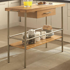 Kitchen Island with Solid Bamboo Top and Metal Legs by Coaster - 102166