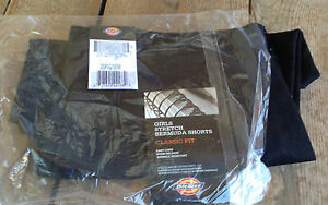 "Dickies Girls Juniors Black Stretch Bermuda Shorts NWT Cotton/Poly 30"" W Uniform"