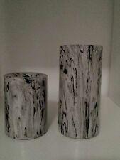 Elambia Longlife Flammenl. Kerzen - Marmor-Design - outdoorgeeignet - 2 Stück